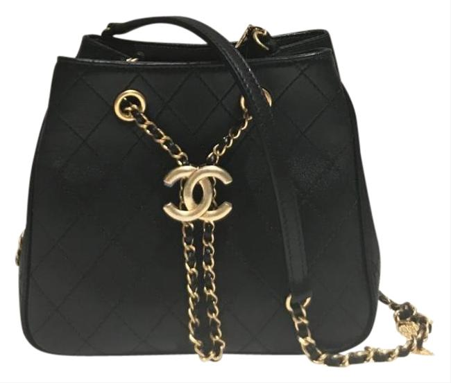 Chanel Bucket Charms Black Calfskin Leather Cross Body Bag Chanel Bucket Charms Black Calfskin Leather Cross Body Bag Image 1