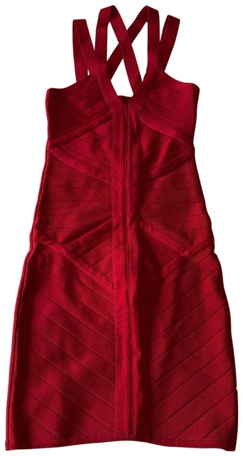 Item - Crimson Red Strappy Bodycon Short Night Out Dress Size 4 (S)