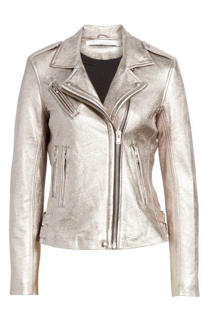 Item - Silver Metallic Leather Moto Jacket Size 4 (S)