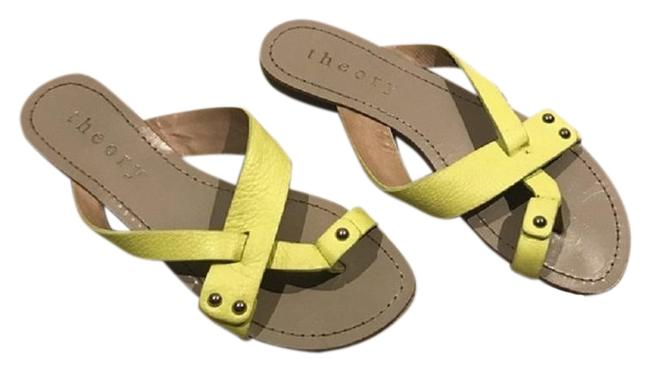 Item - Green Yellow Beige Pastel Yellow/Green Leather Sandals Size EU 37.5 (Approx. US 7.5) Regular (M, B)