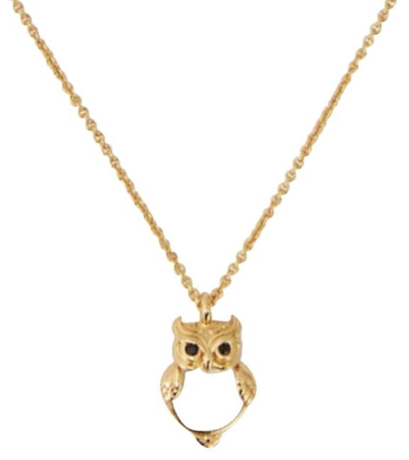 Item - Cream Gold W Into The Wood Owl Mini Pendant Dust Bag Necklace