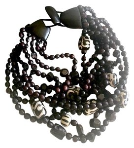 Monies Monies Multi-strand Ebony and Rubilite Collar Necklace