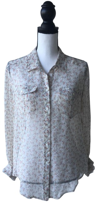 Item - Sheer Floral Button Down / Small Blouse Size 6 (S)