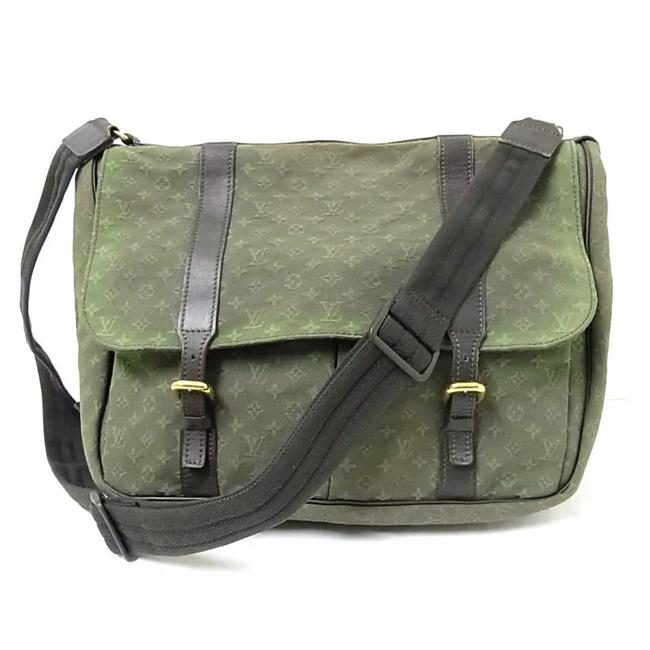 Item - Mini Lin Sac Olive Green/Gold/Brown Canvas/Leather Messenger Bag