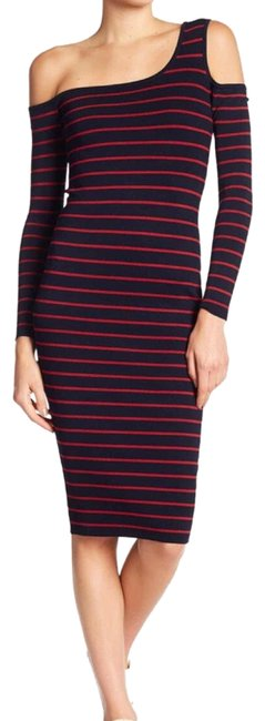 Item - Navy Bodycon Off The Shoulder Mid-length Casual Maxi Dress Size 4 (S)