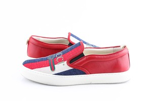 Gucci Red Canvas Dublin Striped Skate Slip On Sneakers Shoes