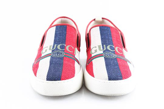 Gucci Red Canvas Dublin Striped Skate Slip On Sneakers Shoes Image 1