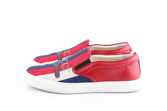 Gucci Red Canvas Dublin Striped Skate Slip On Sneakers Shoes Image 2