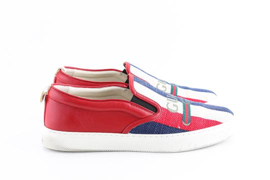 Gucci Red Canvas Dublin Striped Skate Slip On Sneakers Shoes Image 3