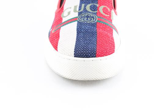 Gucci Red Canvas Dublin Striped Skate Slip On Sneakers Shoes Image 7