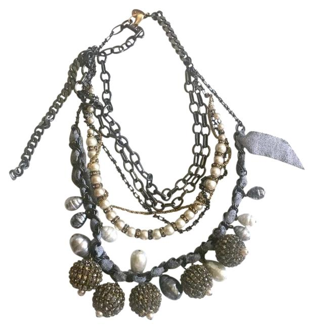 Item - Gunmetal Gold Gray and Pearl Multistrand Chain Necklace