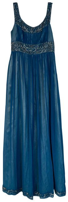 Item - Teal Evening Embellished Silk Mid-length Night Out Dress Size 4 (S)