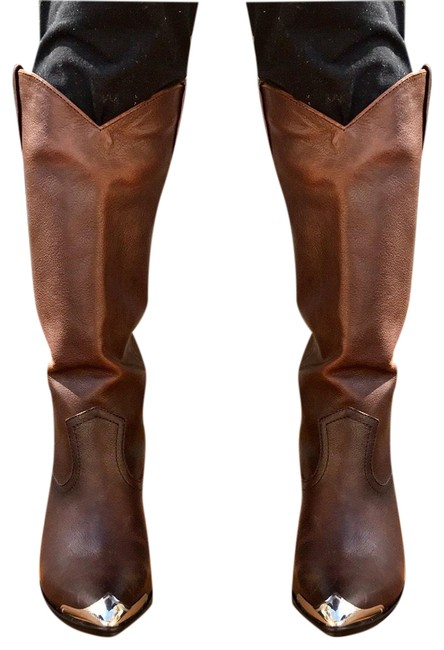Item - Brown Redwood Pull On Leather Metallic Western Women Boots/Booties Size US 8 Regular (M, B)