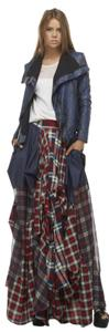 TOV Holy Damsel Plaid Maxi Skirt Red