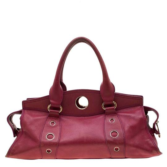 Céline Leather Satchel in Red Image 1