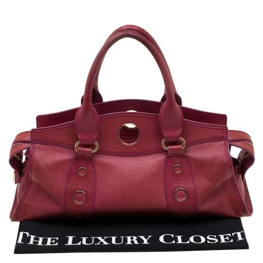 Céline Leather Satchel in Red Image 11