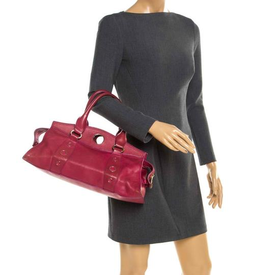 Céline Leather Satchel in Red Image 2