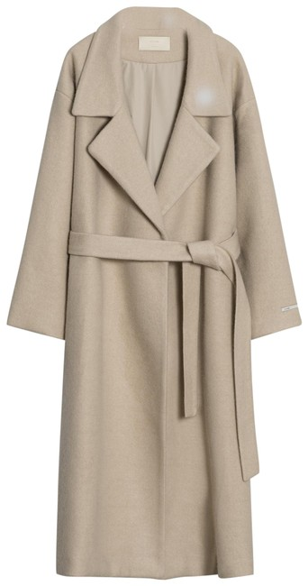 Item - Cream Meier Q Oversized Lapel Woolen with Belt Coat Size OS (one size)