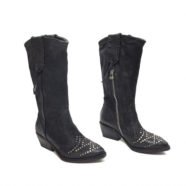 Item - Black Leather Silver Studded Midcalf Cowboy Boots/Booties Size EU 36 (Approx. US 6) Regular (M, B)