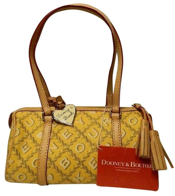 Item - Nwt~dooney Bourke~retired Crossword Prnt Mini Barrel Satchel~yellow Yellow-tan-red-white Coated Canvas/ Leather Shoulder Bag