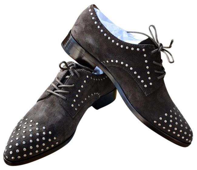 Item - Gray Stud Women's Oxford Lace Up Flats Size US 7.5 Regular (M, B)