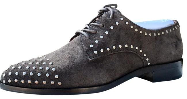 Item - Gray Stud Women's Oxford Lace Up Flats Size US 8 Regular (M, B)