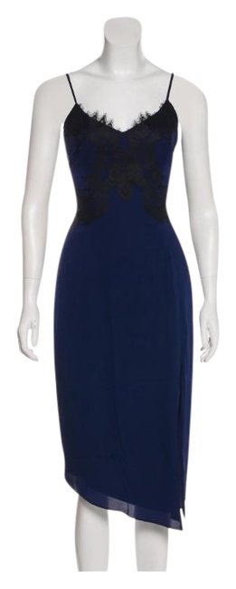 Item - Dark Blue Black Lace Cropped Mid-length Night Out Dress Size 14 (L)