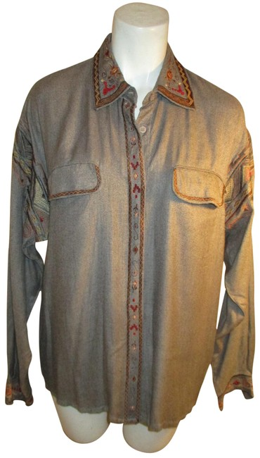Item - Gray Multi Vintage Embroidered Shirt Button-down Top Size 8 (M)