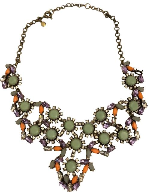 Item - Blue Orange Purple Silver Brass Gemstone Necklace