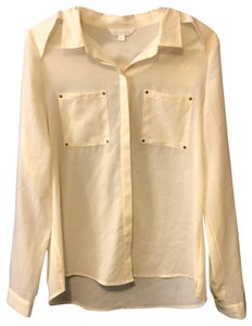 Charming Charlie Button Down Shirt Creme