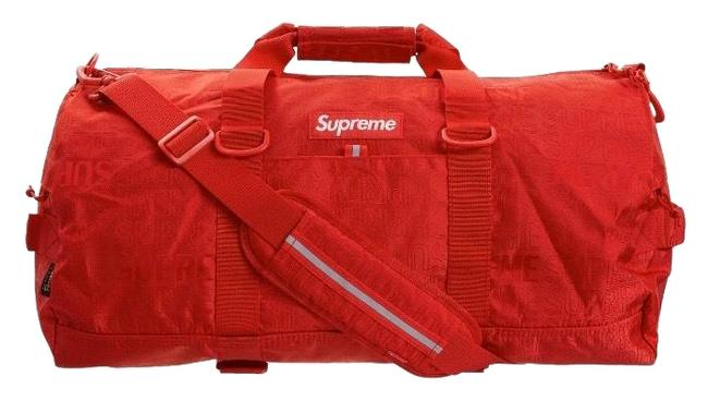 Item - Keepall Box Limited Edition Logo Duffles Gym Cross Body with Strips Red Fabric Weekend/Travel Bag