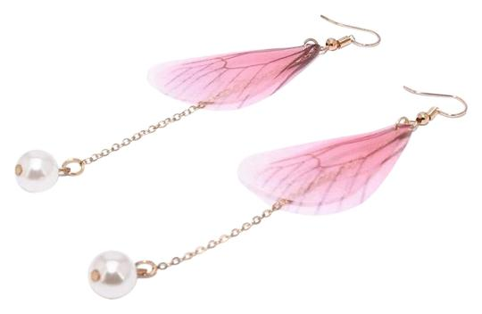 Preload https://img-static.tradesy.com/item/26224646/pink-gold-fairy-wings-dangle-butterfly-insect-cicada-long-pearl-earrings-0-1-540-540.jpg