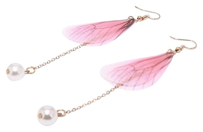 Pink Gold Fairy Wings Dangle Butterfly Insect Cicada Long Pearl Earrings Pink Gold Fairy Wings Dangle Butterfly Insect Cicada Long Pearl Earrings Image 1