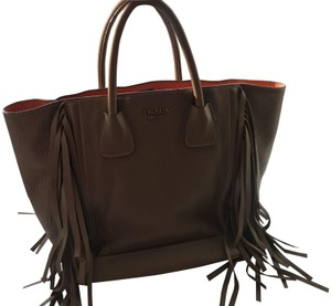 Prada Fringe Leather Tote in Cammello