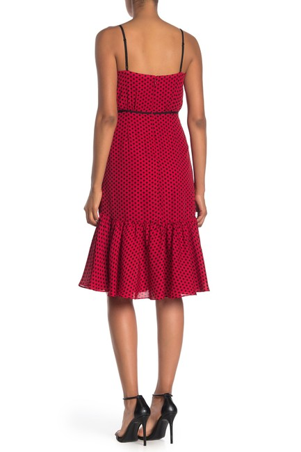 MILLY Red Tiffany Scarlet and Black Polka Dot Silk Mid-length Night Out Dress Size 10 (M) MILLY Red Tiffany Scarlet and Black Polka Dot Silk Mid-length Night Out Dress Size 10 (M) Image 2