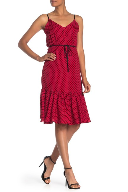 MILLY Red Tiffany Scarlet and Black Polka Dot Silk Mid-length Night Out Dress Size 10 (M) MILLY Red Tiffany Scarlet and Black Polka Dot Silk Mid-length Night Out Dress Size 10 (M) Image 3