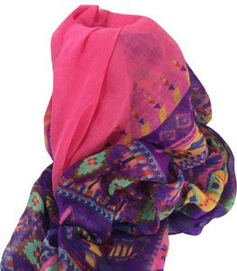 2 Chic Scarf 2 Chic Soft Polyester Southwest Pink Purple Orange Floral