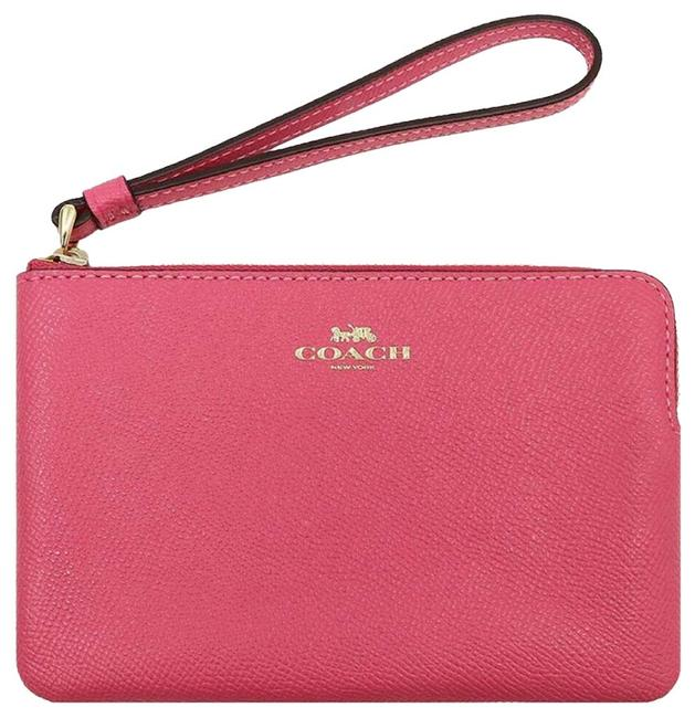 Coach Small Pink/Gold Canvas/Leather Wristlet Coach Small Pink/Gold Canvas/Leather Wristlet Image 1