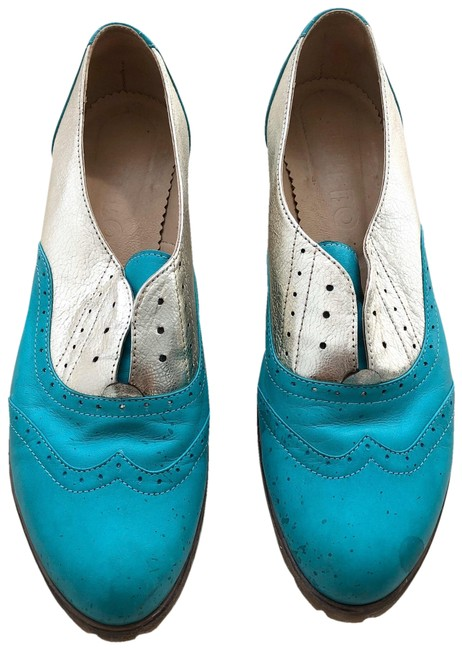 Custom Made Gold and Teal Metallic & Leather Wingtip Flats Size US 11 Regular (M, B) Custom Made Gold and Teal Metallic & Leather Wingtip Flats Size US 11 Regular (M, B) Image 1