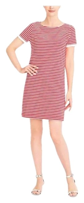 Item - White and Red Striped Shift Mid-length Short Casual Dress Size 6 (S)