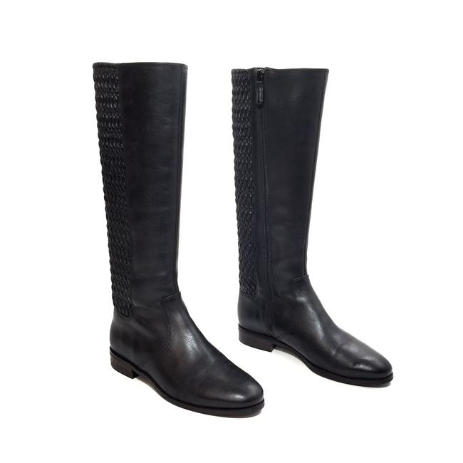 Cole Haan Black Gathered Stretch Leather Riding Boots/Booties Size US 7.5 Regular (M, B) Cole Haan Black Gathered Stretch Leather Riding Boots/Booties Size US 7.5 Regular (M, B) Image 1