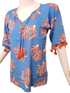 Escapada Living Tassels Resort Festival Rayon Tunic Top Coral/White Barrier Reef