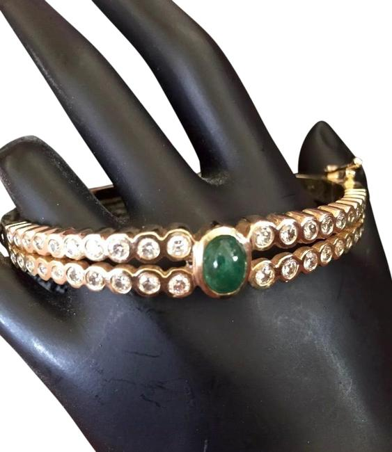 Item - Yellow Gold with Diamonds and Green Emerald 14k Bracelet
