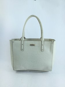 Kate Spade Croc Embossed Tote in Off White