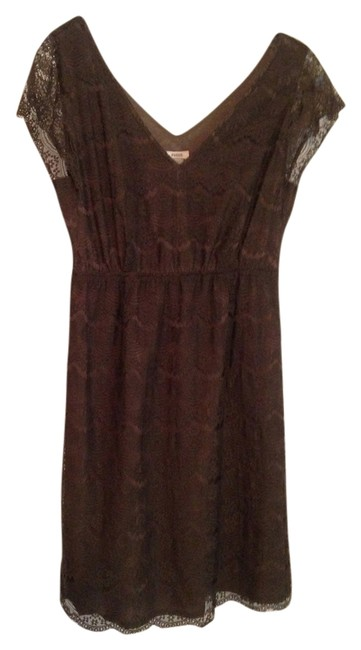 Item - Moss Green Lace Elastic V-neck Above Knee Short Casual Dress Size 6 (S)