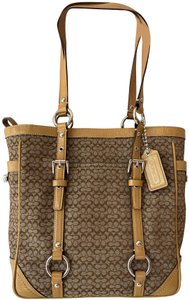 Coach Classic Logo Canvas Patent Leather Tote in Brown and tan