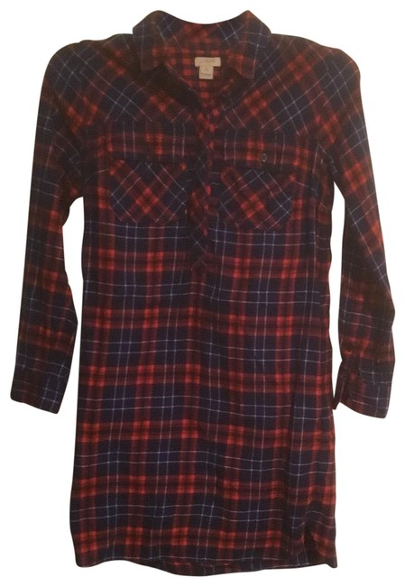 Item - Red/Navy Flannel Shirt Mid-length Casual Maxi Dress Size 00 (XXS)