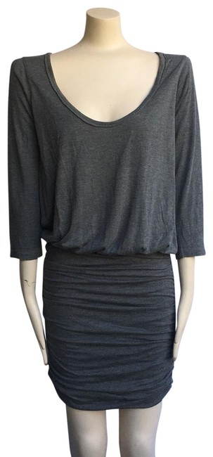 Item - Gray Arusa Ruched Short Casual Dress Size 6 (S)