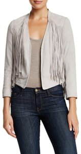 Doma Fringe Western Hip Cool Suede Gray Leather Jacket