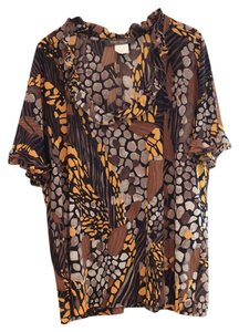 Marina Rinaldi Shirt Designer Shirt Over Sized Top mixed browns and yellow